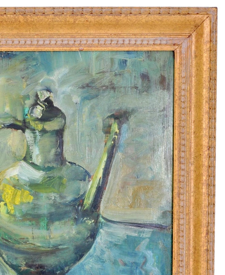 Expressionist German Still Life Oil Painting by Paul Kleinschmidt, 1946 For Sale 4