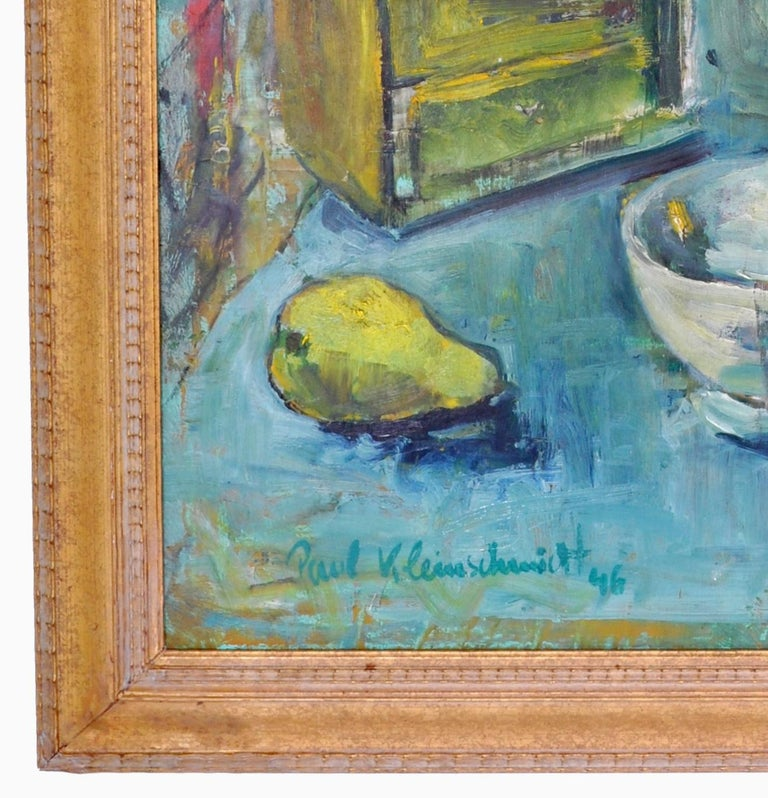 Expressionist German Still Life Oil Painting by Paul Kleinschmidt, 1946 For Sale 5