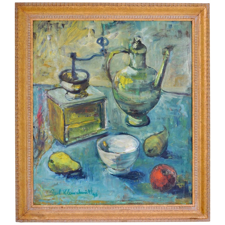 Expressionist German Still Life Oil Painting by Paul Kleinschmidt, 1946 For Sale