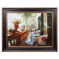 Impressionist Still Life Oil Painting Italian Chateau Floral Patio Balcony