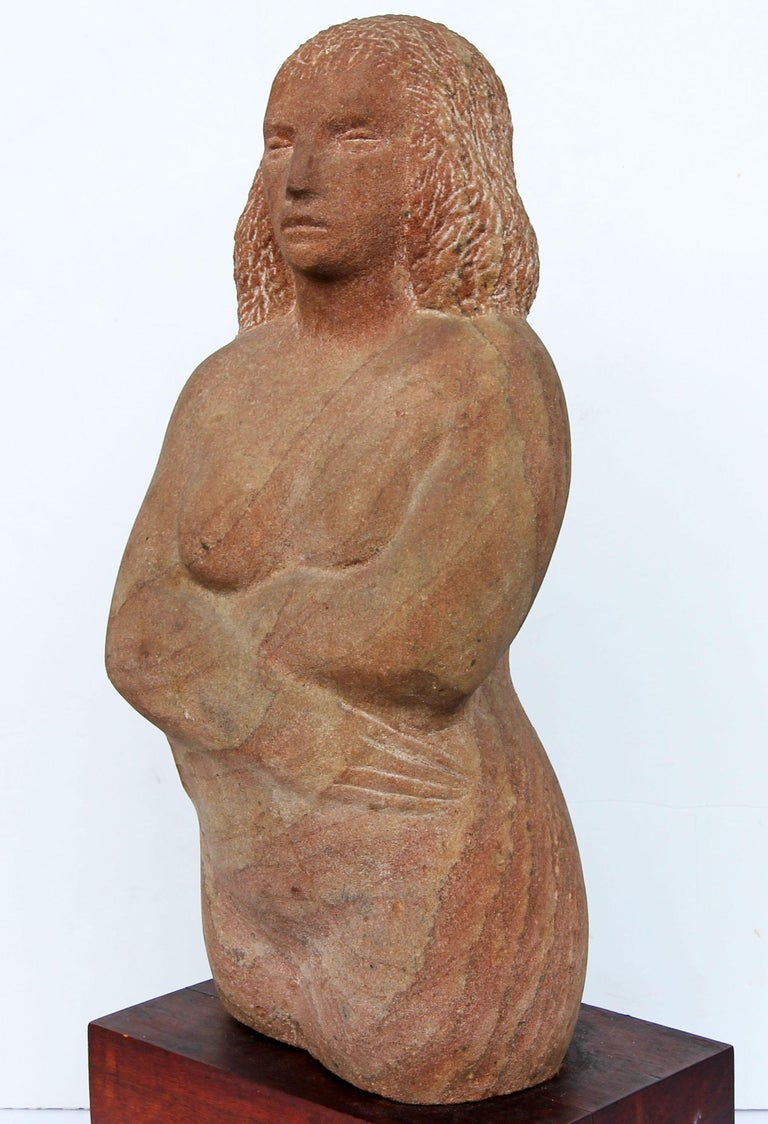 Mid-Century Modern Impressionist Stone Sculpture of a Female Figure For Sale