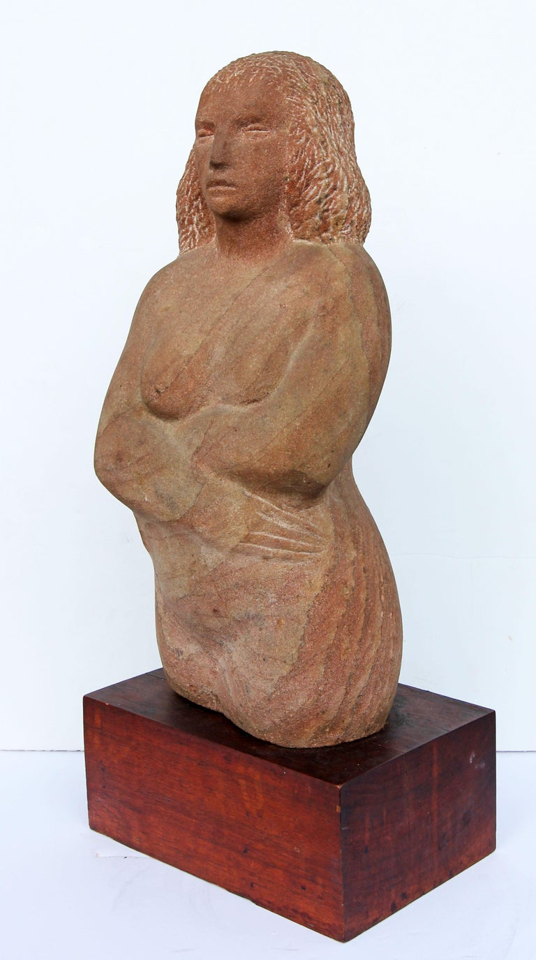 American Impressionist Stone Sculpture of a Female Figure For Sale