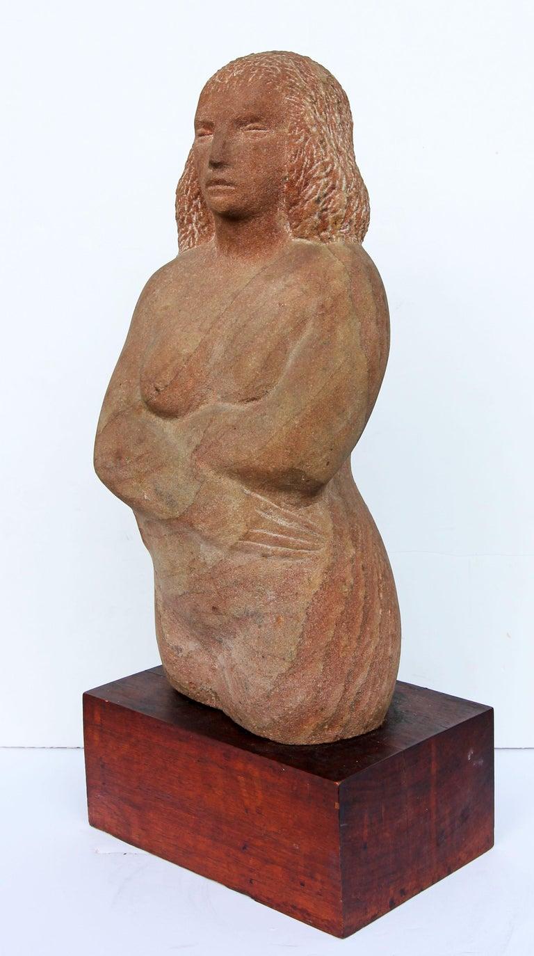 American Impressionist Stone Sculpture of a Female Figure For Sale