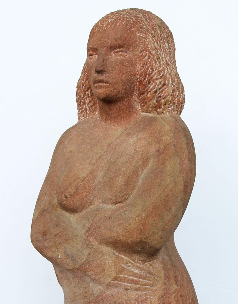 Carved Impressionist Stone Sculpture of a Female Figure For Sale
