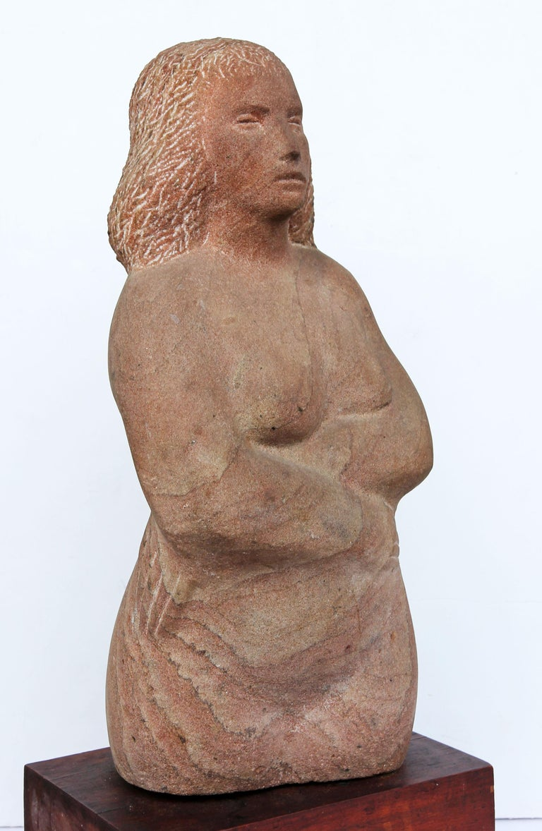 Impressionist Stone Sculpture of a Female Figure In Good Condition For Sale In Rochester, NY