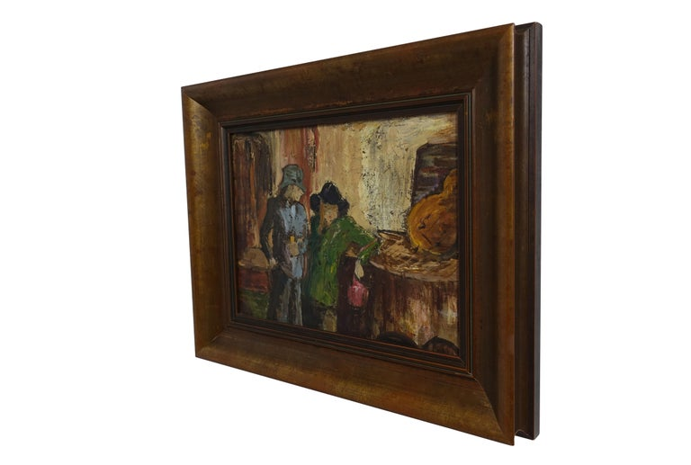 Bar scene or music scene painting, oil on canvas in painted wood frame, mid-20th century. Signed on the back stretcher bar P Archer.