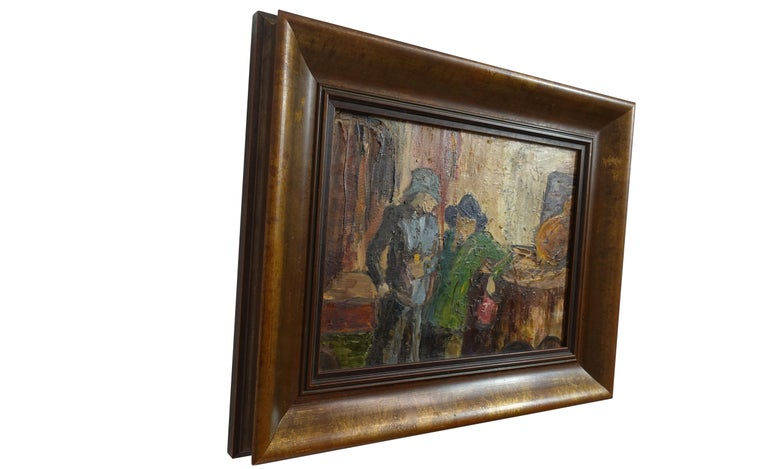Impressionist Style Bar Scene Painting Signed P. Archer, circa 1940 In Excellent Condition For Sale In San Francisco, CA