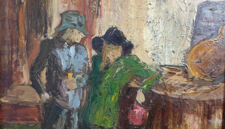 Impressionist Style Bar Scene Painting Signed P. Archer, circa 1940 For Sale 1