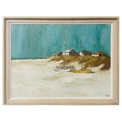Impressionist Style Beach Scene Oil on Canvas Signed J Sauls