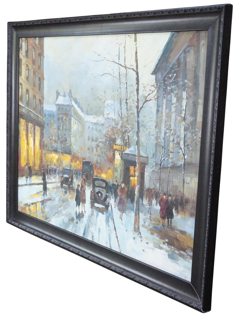 20th century impressionist cityscape, oil painting on canvas. Features a snowy evening in paris with people and cars amongst the architectural backdrop.  sans 47