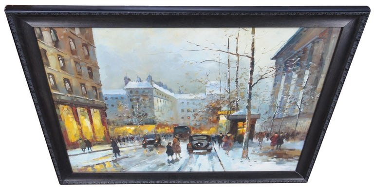 Expressionist Impressionist Winter Cityscape Paris Street Scene Oil Painting on Canvas For Sale