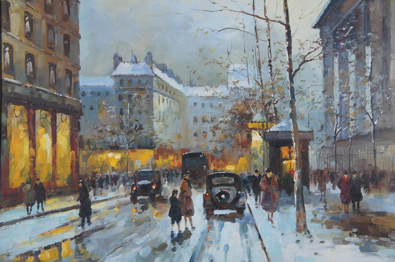 Impressionist Winter Cityscape Paris Street Scene Oil Painting on Canvas In Good Condition For Sale In Dayton, OH