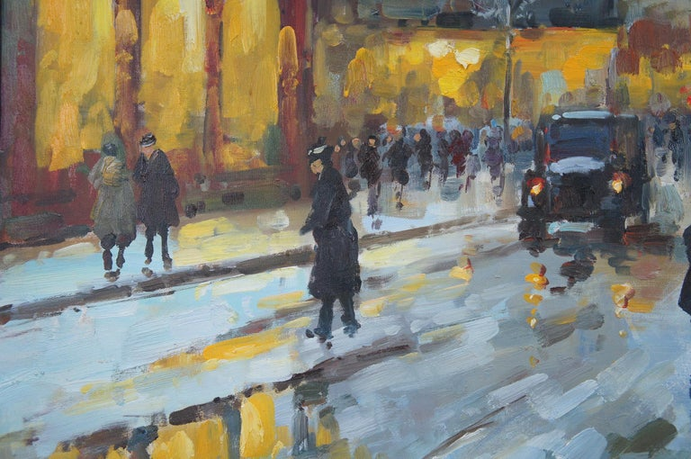 Impressionist Winter Cityscape Paris Street Scene Oil Painting on Canvas For Sale 1