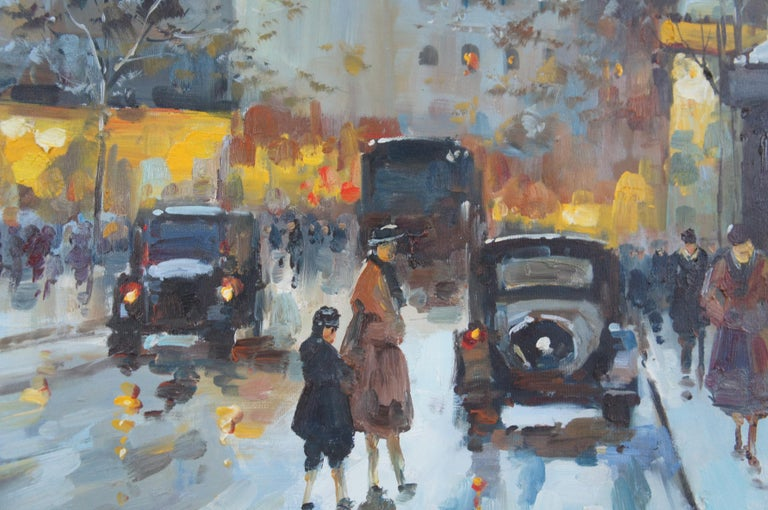 Impressionist Winter Cityscape Paris Street Scene Oil Painting on Canvas For Sale 2
