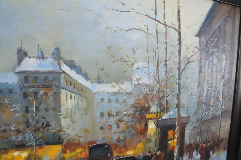 Impressionist Winter Cityscape Paris Street Scene Oil Painting on Canvas For Sale 3