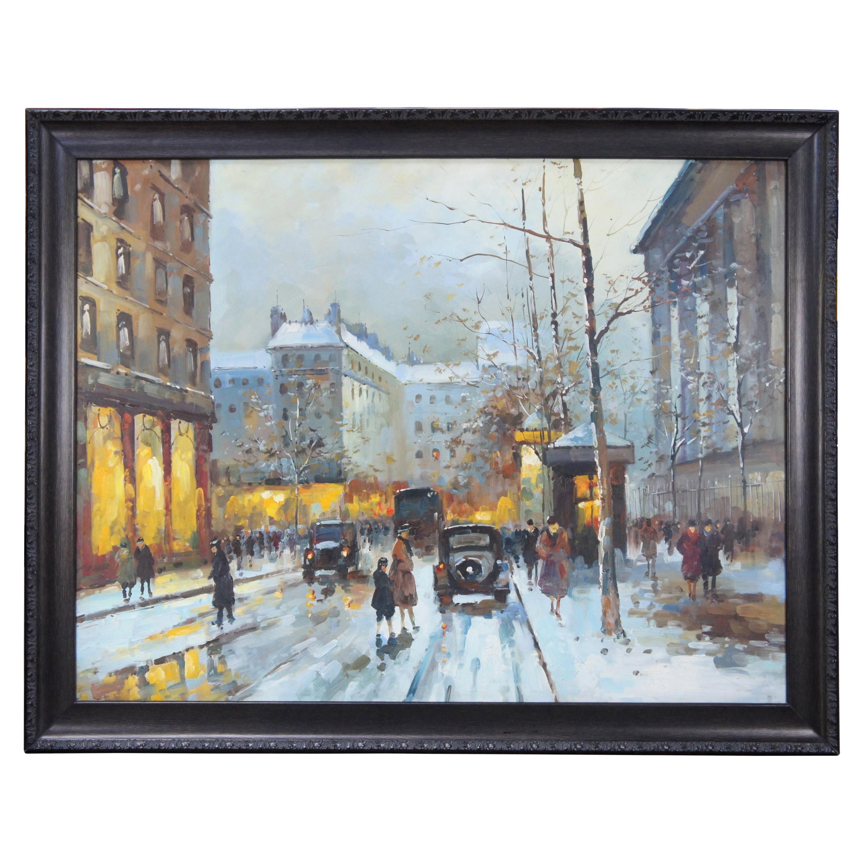 Impressionist Winter Cityscape Paris Street Scene Oil Painting on Canvas