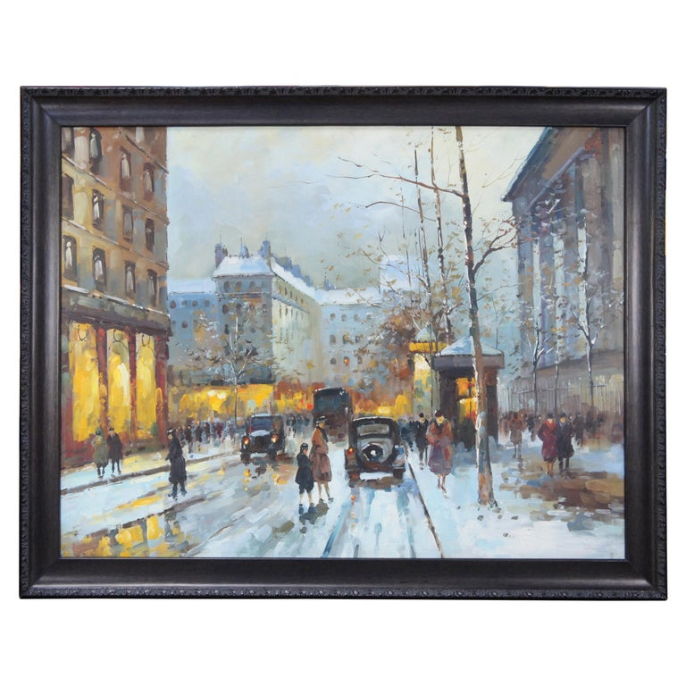 Impressionist Winter Cityscape Paris Street Scene Oil Painting on Canvas For Sale