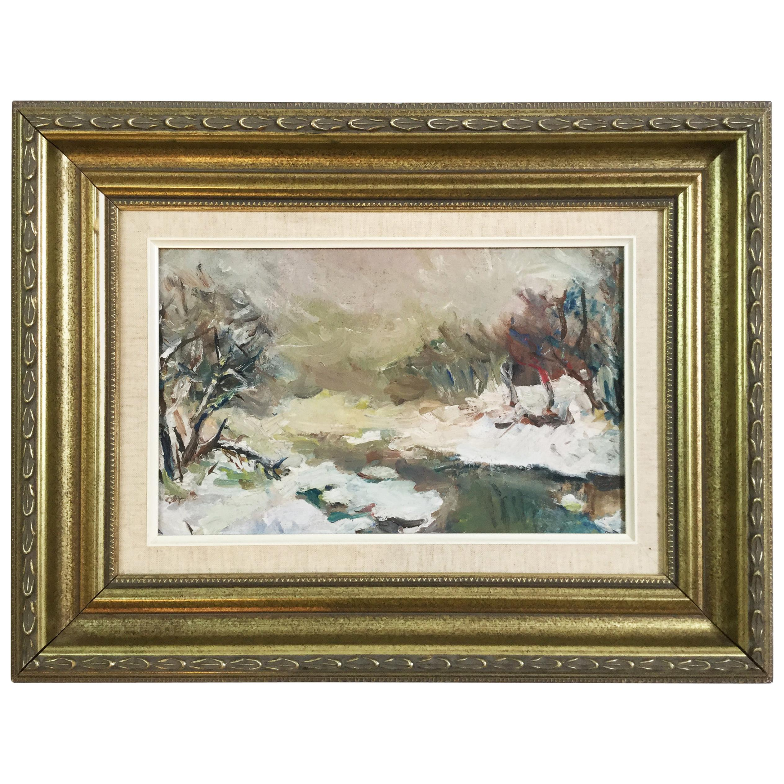 Impressionist Winter Landscape Painting Oil on Board