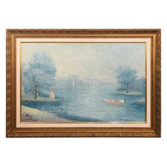Impressionistic Pastel Gilt Framed Large Painting Signed by Artist