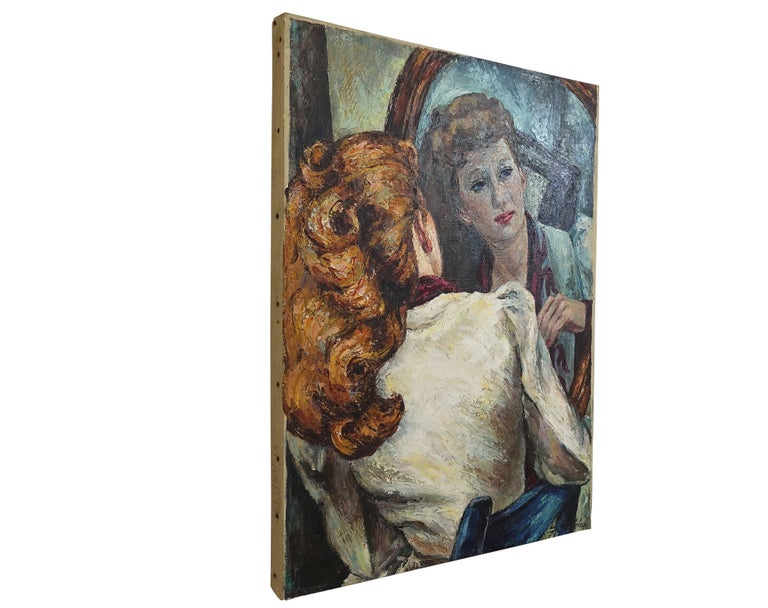 Hand-Painted Impressionistic Portrait Painting of a Woman's Reflection, American, 1940s For Sale