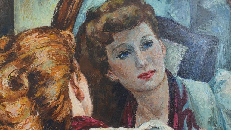 20th Century Impressionistic Portrait Painting of a Woman's Reflection, American, 1940s For Sale
