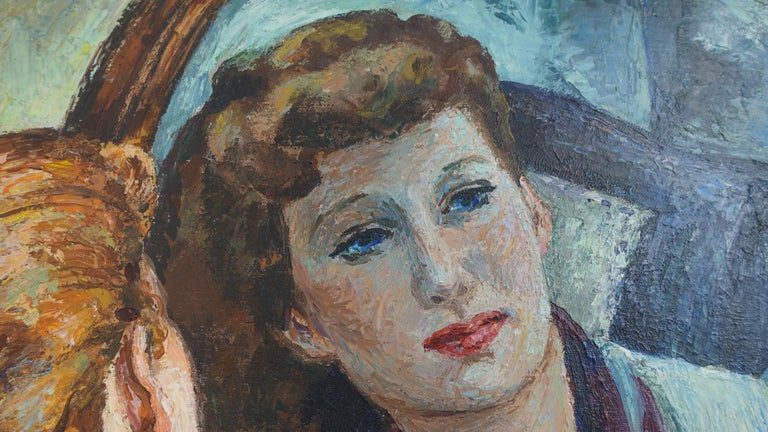 Impressionistic Portrait Painting of a Woman's Reflection, American, 1940s For Sale 2