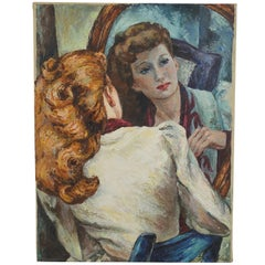 Impressionist Portrait Painting of a Woman's Reflection, American, 1940s