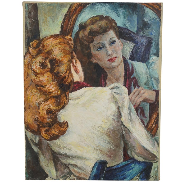 Impressionistic Portrait Painting of a Woman's Reflection, American, 1940s For Sale