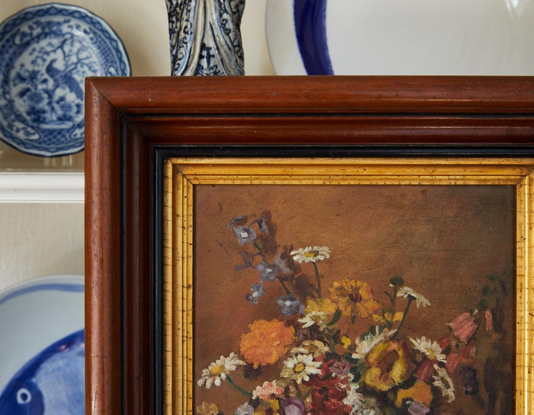 Art Deco Impressionistic Still Life of Wildflowers and Duck Figurine For Sale