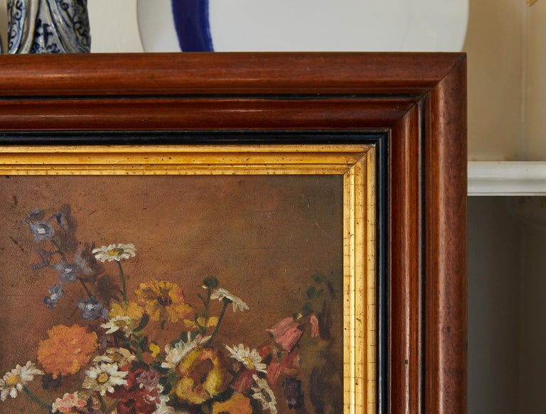 American Impressionistic Still Life of Wildflowers and Duck Figurine For Sale