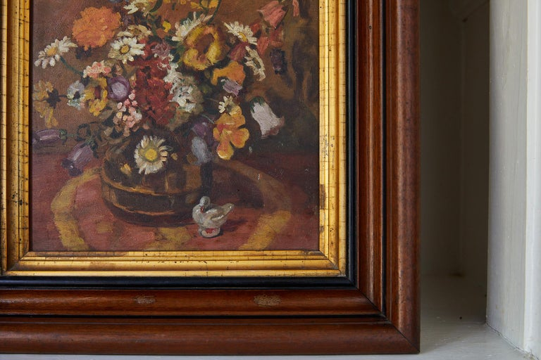 Impressionistic Still Life of Wildflowers and Duck Figurine In Good Condition For Sale In Atlanta, GA