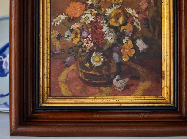 20th Century Impressionistic Still Life of Wildflowers and Duck Figurine For Sale
