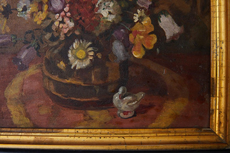 Wood Impressionistic Still Life of Wildflowers and Duck Figurine For Sale