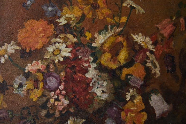 Impressionistic Still Life of Wildflowers and Duck Figurine For Sale 1