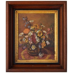 Impressionistic Still Life of Wildflowers and Duck Figurine
