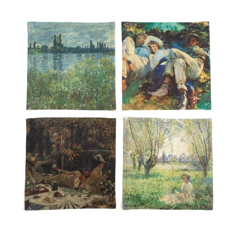 American Impressionists-at-Leisure Belgium Linen Cocktail Napkins For Sale