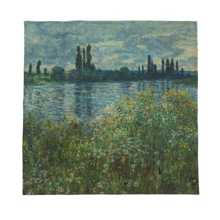 Monet, John Singer Sargent and the great Impressionists who knew how to capture leisure time in like no-one else come to life in our 20x20 Belgium linen custom napkins. Can also be used as dish towels. Set of four.