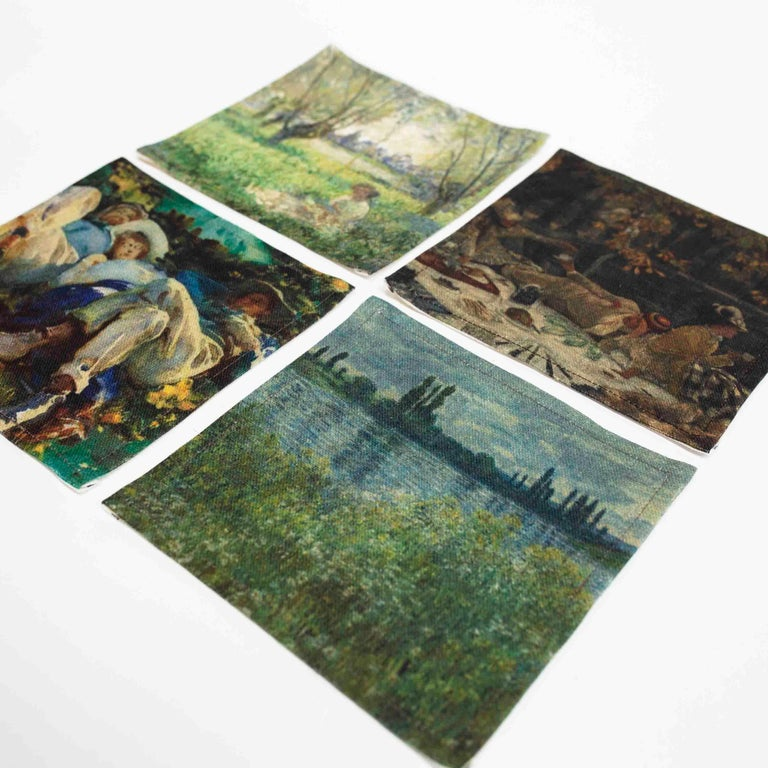 Romantic Impressionists-at-Leisure Belgium Linen Dish or Hand Towels For Sale