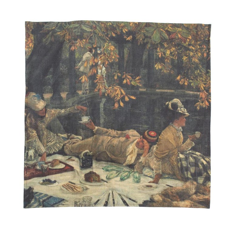Other Impressionists-at-Leisure Belgium Linen Dish or Hand Towels For Sale