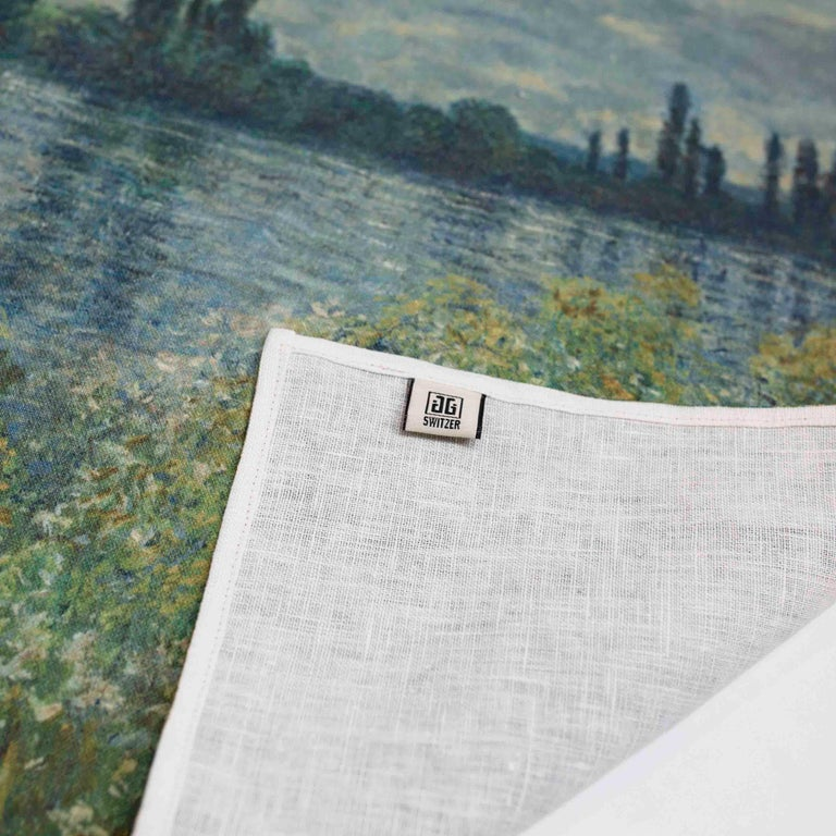 Contemporary Impressionists-at-Leisure Belgium Linen Dish or Hand Towels For Sale