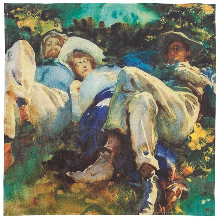 Impressionists-at-Leisure Belgium Linen Dish or Hand Towels For Sale