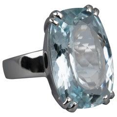 Aquamarine 10:00 Ct Solitaire Ring 18 Karat White Gold, Unique Statement Rings
