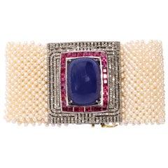 Impressive 100 Carat Tanzanite Tourmaline Diamond Pearl Cuff Bracelet