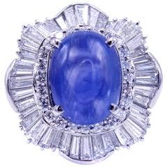 Impressive 11 Carat Ceylon Natural Cabochon Sapphire Diamond Platinum Ring