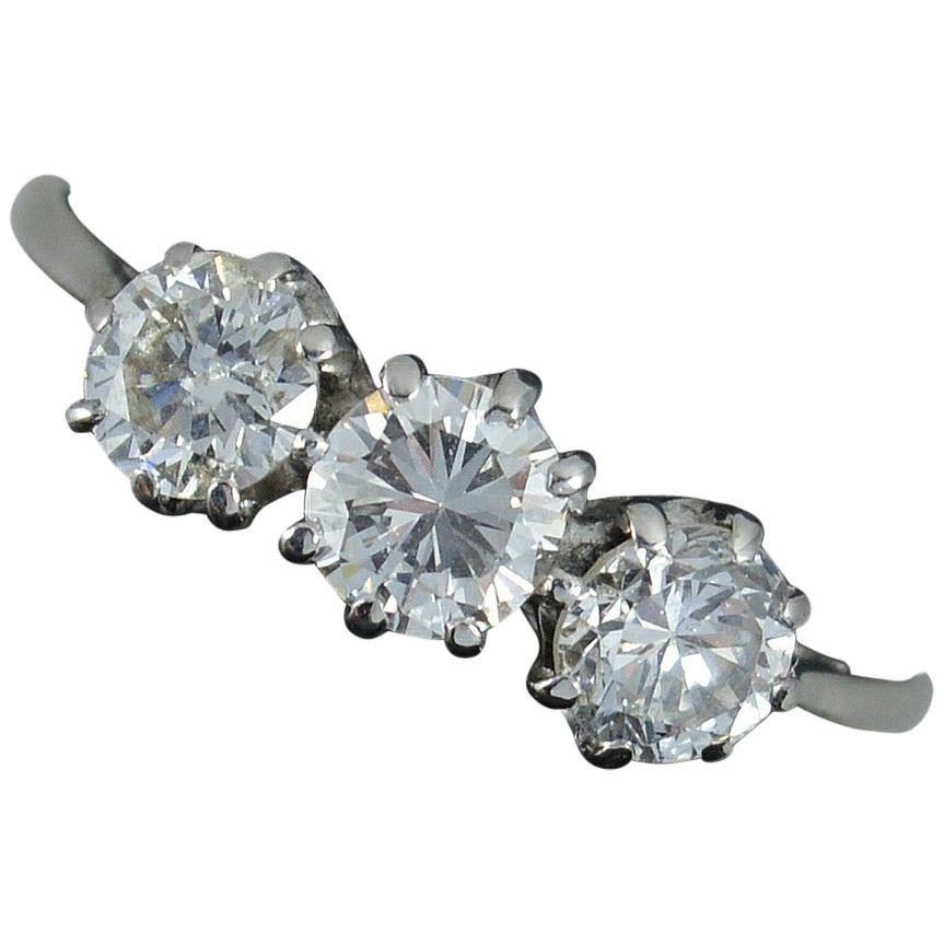 Impressive 1.20 Carat Diamond and 18 Carat White Gold Trilogy Ring