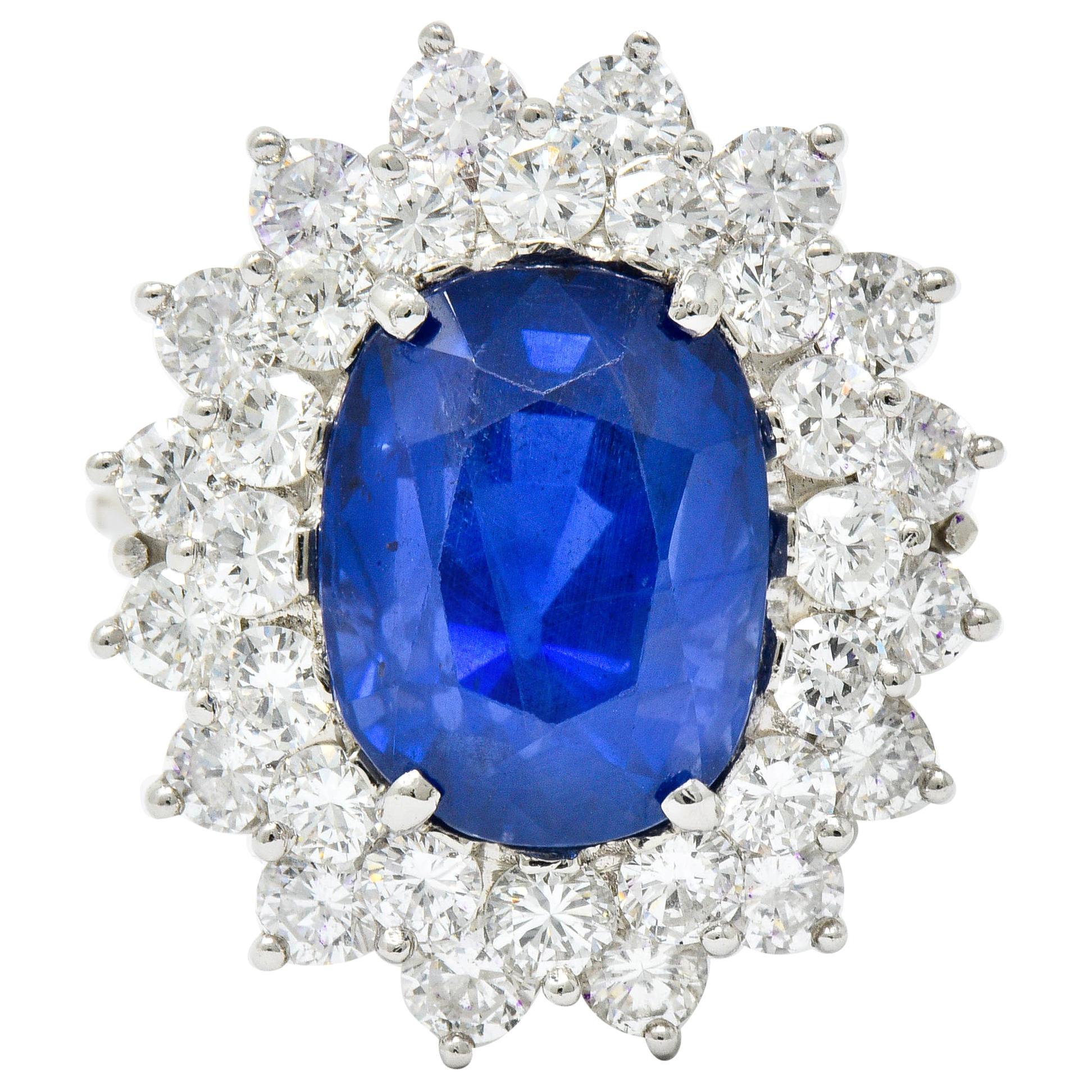 Impressive 13.63 Carat No Heat Ceylon Sapphire Diamond Platinum Cluster Ring