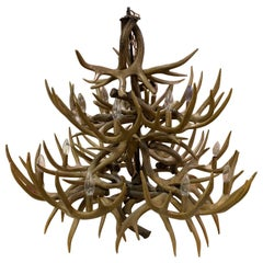 Impressive 14-Light Rustic Antler Chandelier