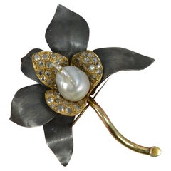 Impressive 14ct Gold Pearl and Rose Cut Diamond Flower Brooch