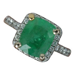 Impressive 18 Carat White Gold Emerald and Vs Diamond Cluster Engagement Ring