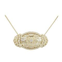 Impressive 18 Karat Gold, Art Deco Style Diamond Brooch Pendant